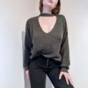 Gray Cozy Knit Sweater With V-Neck Cutout Collar